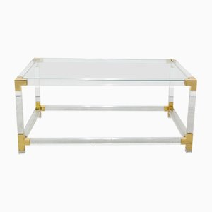 Vintage Rectangular Methacrylate and Brass Side Table, 1970s