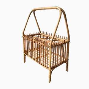 Mid-Century Rattan and Bamboo Bottle Holder, 1950s