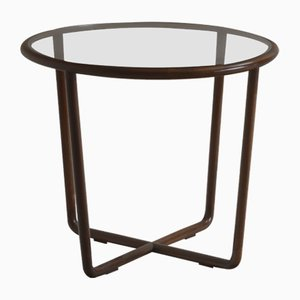 Brasilianischer Runder Mid-Century Glas Beistelltisch von Joaquim Tenreiro, 1950er