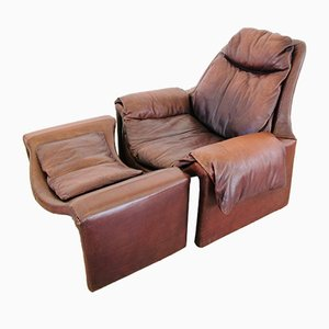 Brown Leather Model P60 Lounge Chair and Model P62 Ottoman Set by Vittorio Introini for Saporiti, 1960s