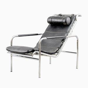Vintage Chrom und Schwarzer Leder Genni Armlehnstuhl von Mucchi für Zanotta, 1930er