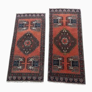 Small Vintage Turkish Hand Knotted Woolen Rugs, 1970s, Set of 2