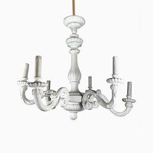 Vintage Matt White Wooden Ceiling Lamp, 1920s