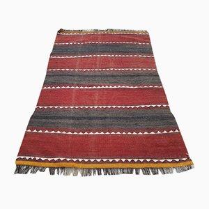 Kleiner türkischer gestreifter Vintage Kilim Teppich, 1970er