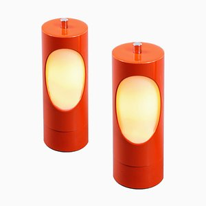 Orange Cylinder Glass and Metal Bedside Table Lamps, 1970s, Set of 2