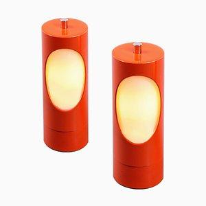 Orangefarbene Zylinderglas & Metall Nachttischlampen, 1970er, 2er Set