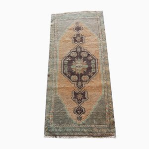 Small Vintage Turkish Distressed Low Pile Faded Yastik Rug, 1970s
