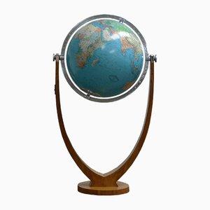 Vintage Art Deco Glas Globus mit Stimmgabelfuß in Nuss von Columbus Oestergaard