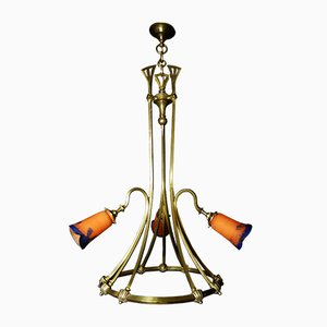 Art Nouveau French Ceiling Lamp from Muller Frères