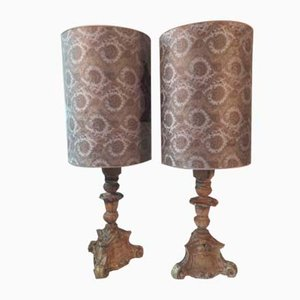Mid-Century Carved Wooden Table Lamps, Set of 2