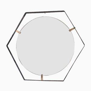 Mid-Century Spiegel aus Messing & Stahl