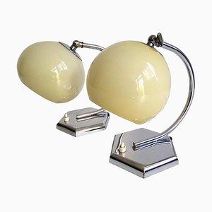 Französische Art Deco Chrom Tischlampen aus Opalglas, 1930er, 2er Set