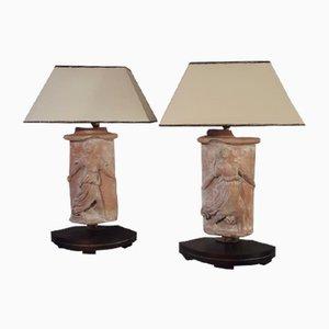 Skulpturale Tischlampen aus Terrakotta, 1920er, 2er Set