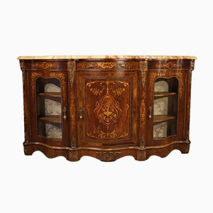Napoleon III Style French Inlaid Rosewood Sideboard with Marble Top, 1960s