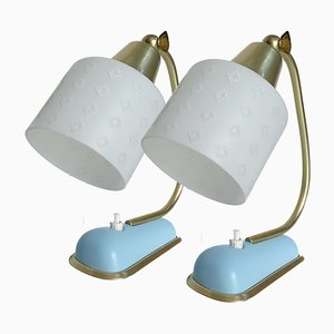 Vintage Blue, Gold, and White Table Lamps, 1950s, Set of 2