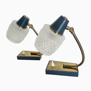 Vintage Brass, Gold, and Navy Blue Table Lamps, 1960s, Set of 2