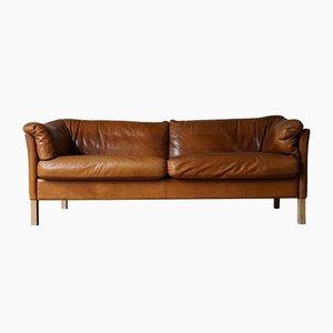 Danish Cognac Leather Model 535 Sofa by Mogens Hansen for Mogens Hansen, 1960s