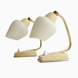 Mid-Century Beige and White Table Lamps, 1960s, Set of 2