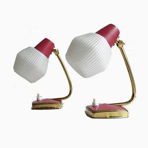 Rote Vintage Messing Tischlampen, 1960er, 2er Set