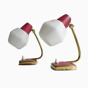 Vintage Red and Brass Table Lamps, 1960s, Set of 2