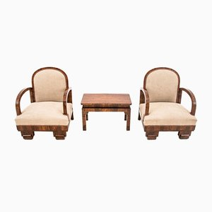 Art Deco Armchairs and Table Set, 1930s, Set of 3
