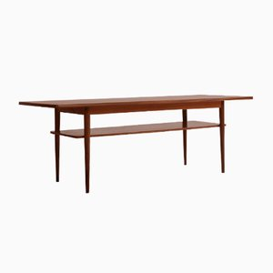 Danish Long Coffee Table in Teak with 2 Levels, 1960s