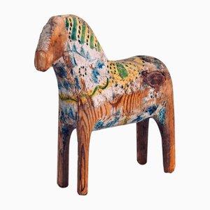 Lackiertes Pferd aus geschnitztem Holz, 19. Jh