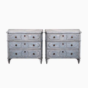 19th Century Gustavian Richly Carved Chest of Drawers with Marble Painted Top, Set of 2