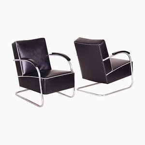Black Tubular Steel Cantilever Armchairs in Chrome, 1930s, Set of 2