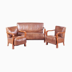 Art Deco Brown Walnut & Leather Living Room Set, 1930s, Set of 3