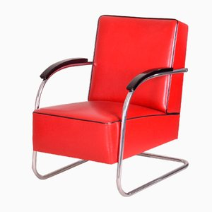 Red Tubular Steel Cantilever Chrome Armchair in Leather, 1930s