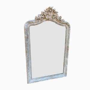 19th Century French Painted Shaped Top Mirror