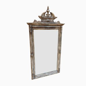 Large 19th Century French Carved Wood and Gesso Painted Mirror