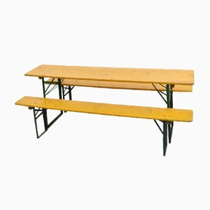 Vintage German Yellow Beer Hall Table and Benches Set