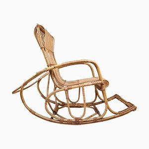 French Wicker Rattan Bamboo Rocking Chair, 1960s