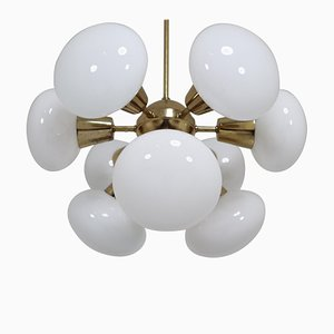 Sputnik Chandelier in Brass and Opaline Glass Spheres, 1970s