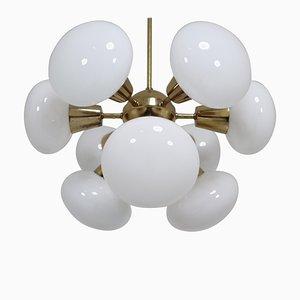 Sputnik Kronleuchter aus Messing & Opalglas Kugeln, 1970er