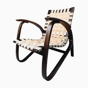 Lackierter Sessel aus Holz & Leinen von Jan Vanek, Tschechien, 1930er