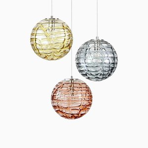Murano Glass Pendant Lights Venini Style from Doria Leuchten, 1960s, Set of 3