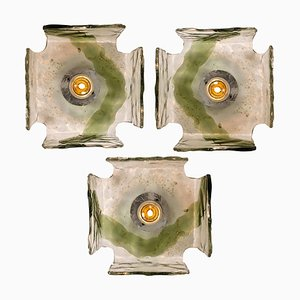 Hand-Blown Flush Mounts or Wall Sconces, 1960s, Set of 4