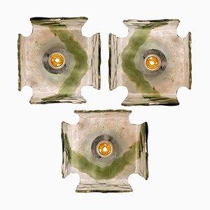 Plafonniers ou Appliques Murales Soufflées à la Bouche, 1960s, Set de 4