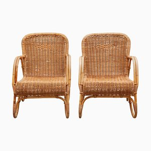 Bamboo & Woven Rattan Lounge Chairs by Dirk van Sliedregt for Rohe Noordwolde, 1960s, Set of 3