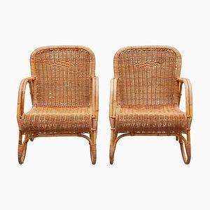 Sessel aus Bambus & gewebtem Rattan von Dirk van Sliedregt für Rohe Noordwolde, 1960er, 3er Set