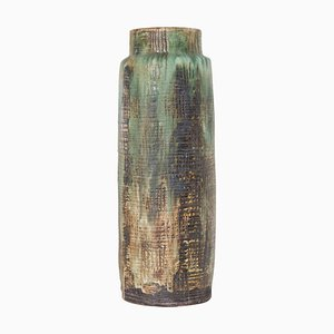 Large German Flower Green Textured Floor Vase from Waechtersbach Ceramics, 1960s