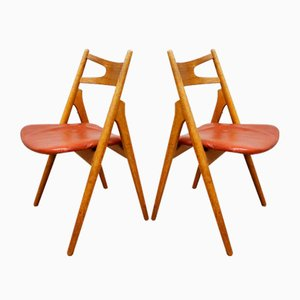 Chaises de Salle à Manger CH29 Sawbuck par Hans J. Wegner pour Carl Hansen & Søn, 1950s, Set de 6