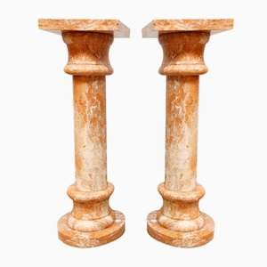 Pink Marble Column or Plant Stand, 1950s, Set of 2