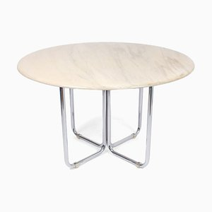 Round Dining Table with Chrome Legs and Natural Stone Top by Gastone Rinaldi, 1970s