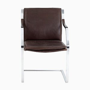 Cantilever Chair in Leather and Chromed Metal by Rudolf Glatzel, 1970s