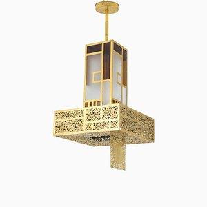 Kronleuchter aus Gefärbtem Glas & Vergoldetem Metall, 1960er