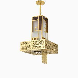 Oriental Style Colored Glass and Gilt Metal Chandelier, 1960s